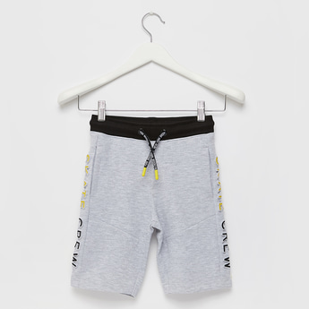 Embossed Shorts with Elasticated Drawstring Waist