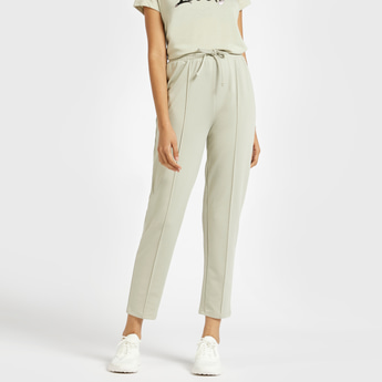 Solid Mid-Rise Pants with Drawstring Closure