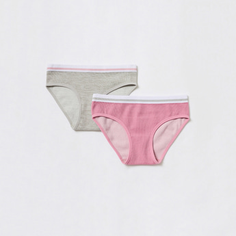 Pack of 2 - Textured Briefs with Elasticised Waistband