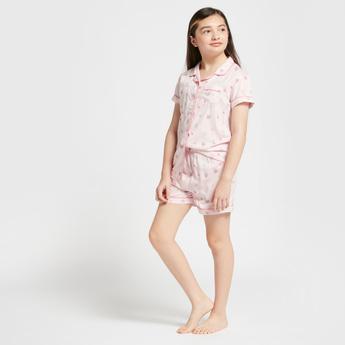 All-Over Print Short Sleeves Sleepshirt and Shorts Set