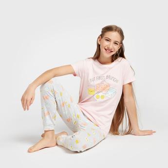 Graphic Print T-shirt and All-Over Print Pyjama Set