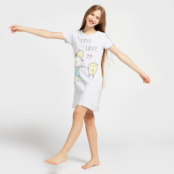 Lucy Mouse Print Round Neck Nightdress with Short Sleeves