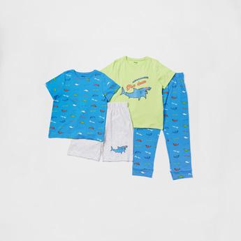 Shark Print 4-Piece Sleepwear Set