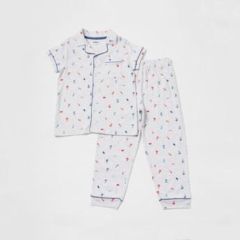 All Over Print Collared Shirt and Full-Length Pyjama Set