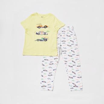 Car Graphic T-shirt and Pyjama Set