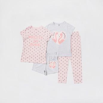 Flamingo Print 4-Piece Sleepwear Set