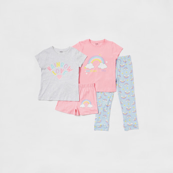 Rainbow Print 4-Piece Sleepwear Set