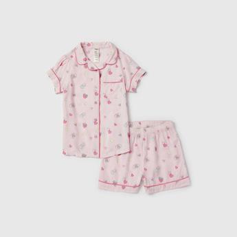 All-Over Print Short Sleeves Sleepshirt with Shorts Set