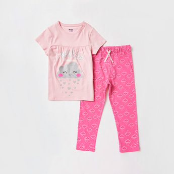 Cloud Print Round Neck T-shirt and Full Length Pyjama Set