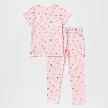 All-Over Print Short Sleeves T-shirt and Pyjama Set