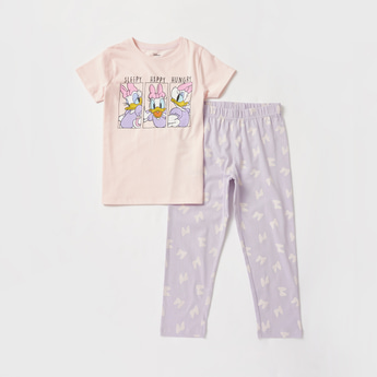 Daisy Duck Print Round Neck T-shirt and Pyjama Set