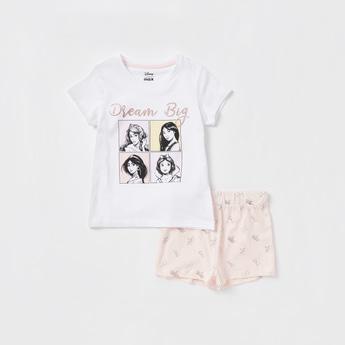 Disney Princess Graphic Print T-shirt with Shorts Set