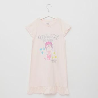 Glitter Print Sleepshirt with Round Neck and Cap Sleeves