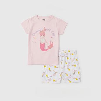 Mermaid Graphic Print T-shirt with Shorts