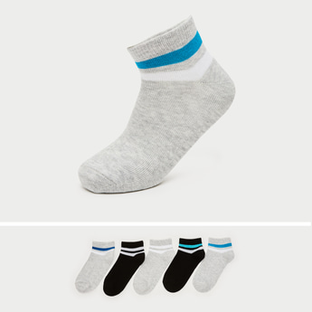 Pack of 5 - Striped Ankle Length Socks with Ribbed Hem