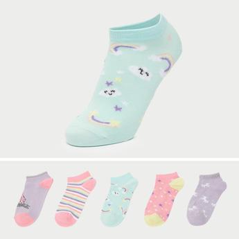 Set of 5 -  Assorted Printed Ankle Length Socks