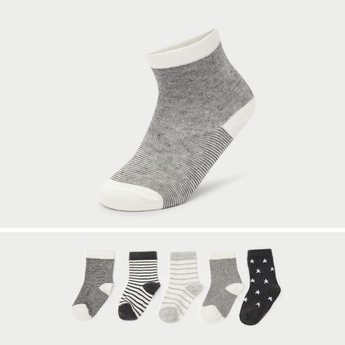 Pack of 5 - Assorted Crew Length Socks with Cuffed Hem