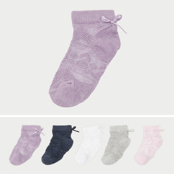 Set of 5 - Textured Ankle Length Socks with Bow Accent