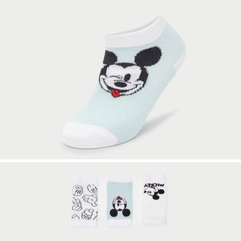 Pack of 3 - Mickey Mouse Graphic Print Socks with Cuffed Hem