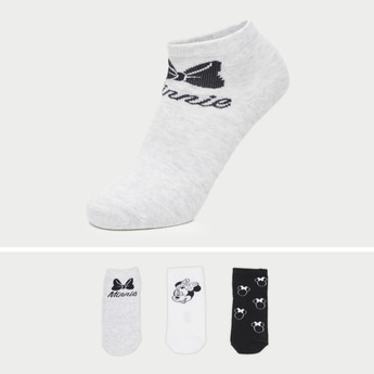 Set of 3 - Minnie Mouse Themed Ankle Length Socks