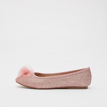 حذاء باليرينا مزين بتفاصيل شبكية