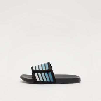 Sliders with Striped Midsole Strap