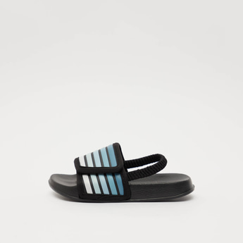 Textured Slides with Striped Vamp Band and Ankle Strap