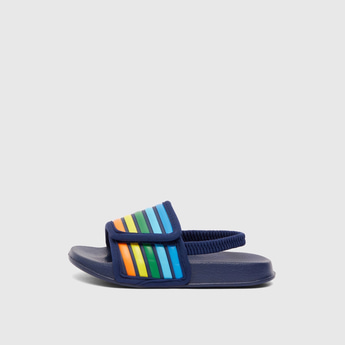 Striped Open-Toe Slippers with Elasticated Strap