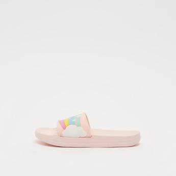 Slip-On Beach Slippers with Rainbow Pattern Vamp