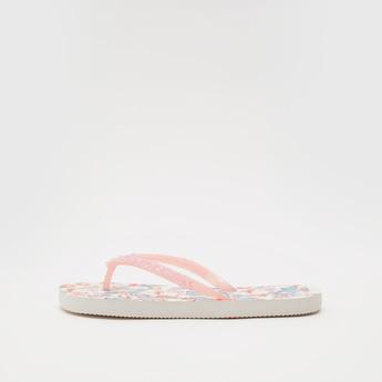 Printed Flip Flops with Embellished Straps
