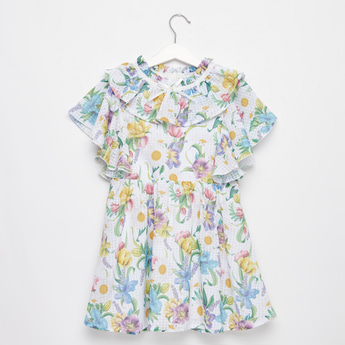 All-Over Floral Print Dress with Round Neck and Frill Sleeves