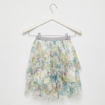 All-Over Floral Print Mesh Skirt with Handkerchief Hem