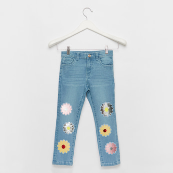 Floral Embellished Full-Length Jeans with Pockets and Button Closure