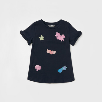 Badge Detail Round Neck T-shirt with Short Sleeves