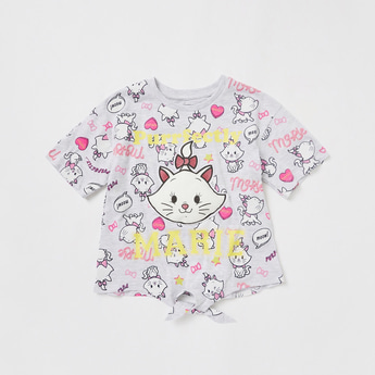 All-Over Marie Graphic Print T-shirt with Round Neck and Tie-Ups