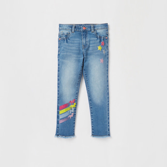 Unicorn Print Jeans with Button Closure and Pockets