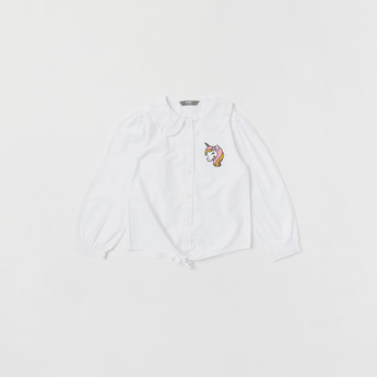 Unicorn Embroidered Detail Shirt with Peter Pan Collar and Long Sleeves