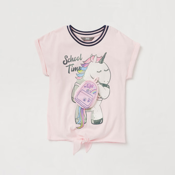 Unicorn Applique Detail T-shirt with Cap Sleeves and Knot Detail