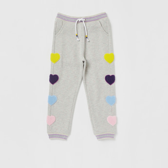 Heart Applique Detail Full Length Joggers with Drawstring Closure