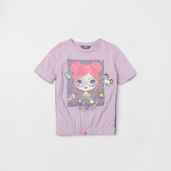 Graphic Print T-shirt with Short Sleeves and Elasticised Hem