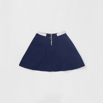 Solid Mini Skater Skirt with Zip Closure