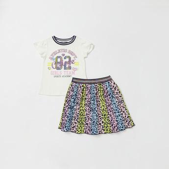 Graphic Print Cap Sleeves T-shirt and Animal Print Skirt Set
