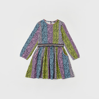All-Over Animal Print Dress with Long Sleeves and Pockets
