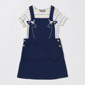 Striped Short Sleeves T-shirt with Unicorn Embroidered Pinafore Set