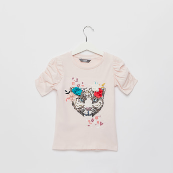 Sequinned Tiger T-shirt with Round Neck and Short Sleeves