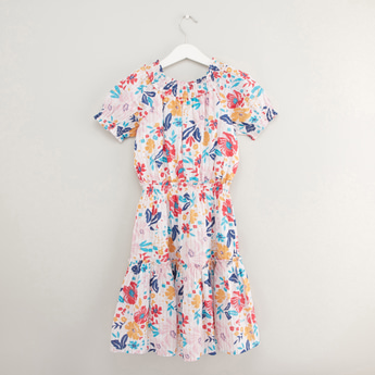 All Over Floral Print Midi Dress with Short Sleeves