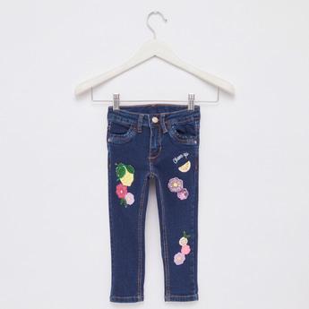 Embellished Jeans with Belt Loops and Pocket Detail