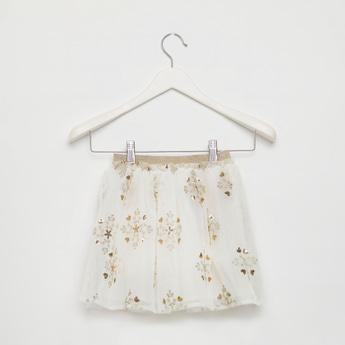 Sequin Detail Midi Skater Skirt with Mesh Detail and Elasticised Waist