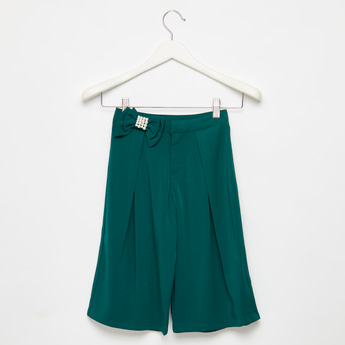 Solid Culottes with Elasticised Waistband and Bow Applique Detail