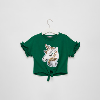 Sequin Detail Unicorn T-shirt with Tie-Ups and Short Sleeves